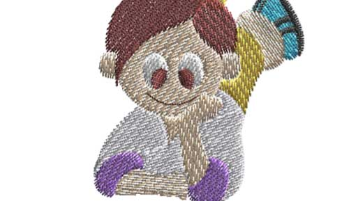 Kid free embroidery design