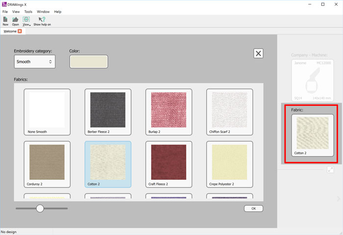 Set default fabric for your embroideries